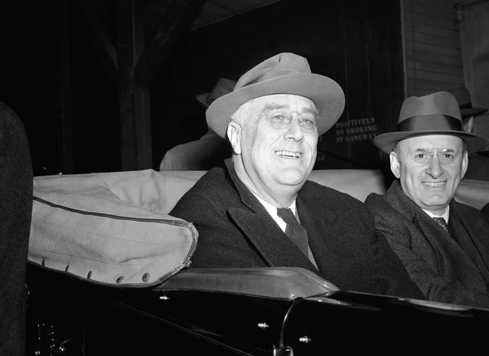 President Franklin D. Roosevelt and Treasury Secretary Henry Morgenthau Jr. made an election eve appearance in Kingston, N.Y., Nov. 4, 1940.