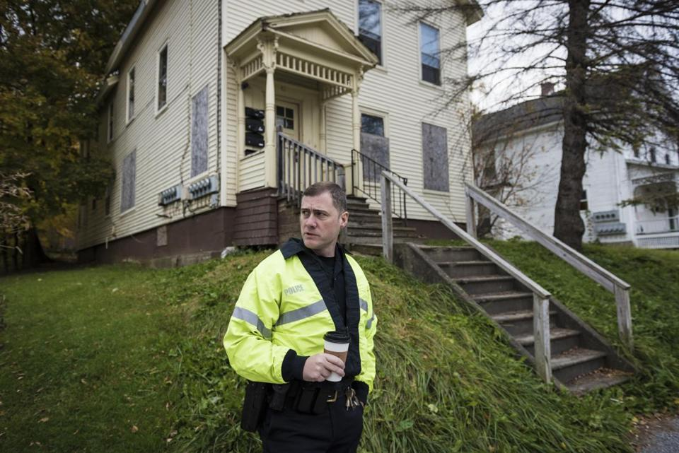 Rutland police Sergeant Matthew Prouty paused in front of a house where a meth producer was arrested a few years ago.