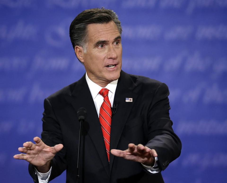 Then-Republican presidential candidate Mitt Romney spoke during the first presidential debate with President Barack Obama in 2012.