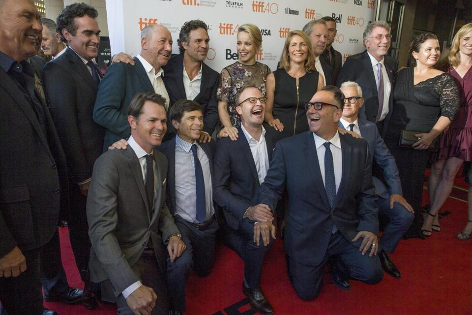 "The ""Spotlight"" cast and the the reporters they play on the red carpet at the Toronto International Film Festival."