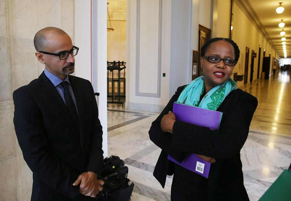Junot Diaz (left) and Edwidge Danticat spoke to reporters after appearing before Congress last week.