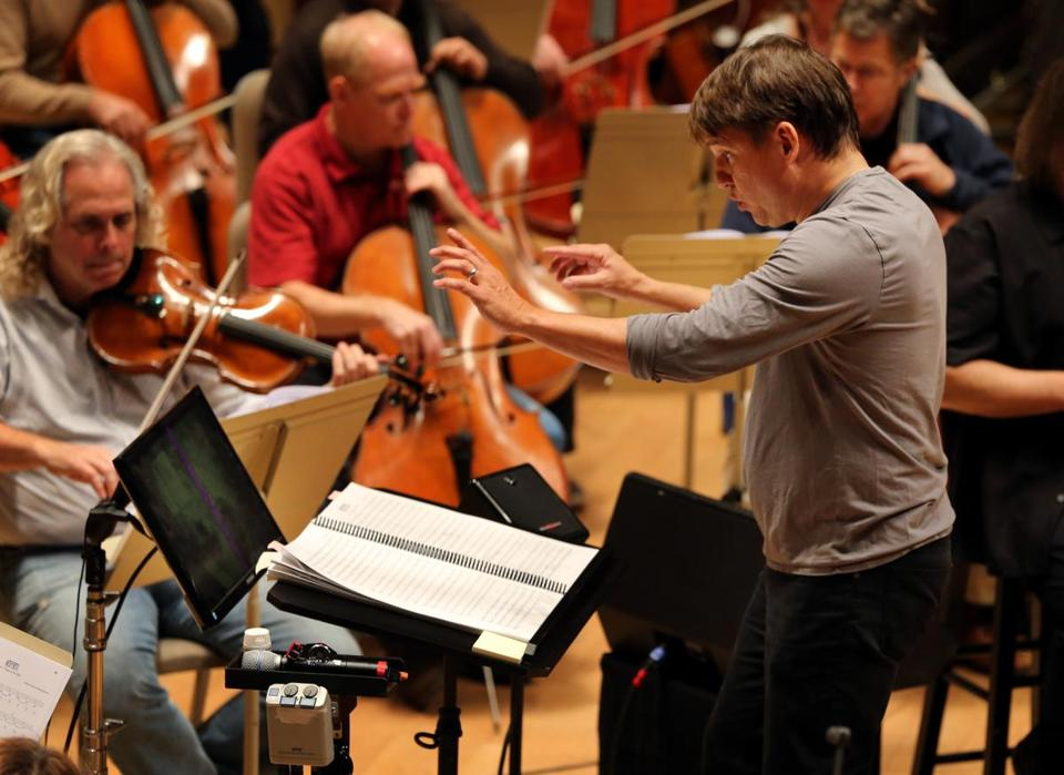Keith Lockhart leading the Boston Pops Esplanade Orchestra in rehearsal for the vampire-movie program.
