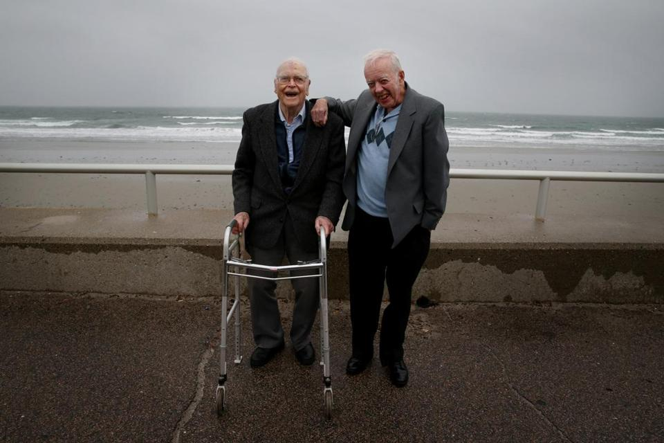 Robert Lautzenheiser (left) and F. Robert Skilling have recorded the weather in meticulous detail for more than 55 years each.