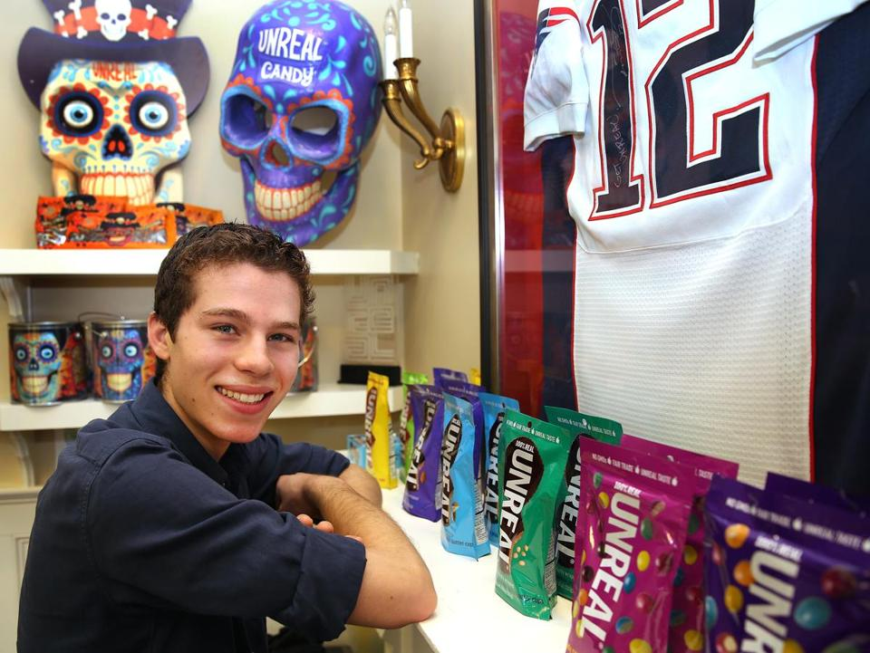 Nicky Bronner, 18, and Unreal candy's other cofounders say a recent Facebook video of Patriots quarterback Tom Brady boosting the brand has fueled a surge in sales just in time for Halloween.