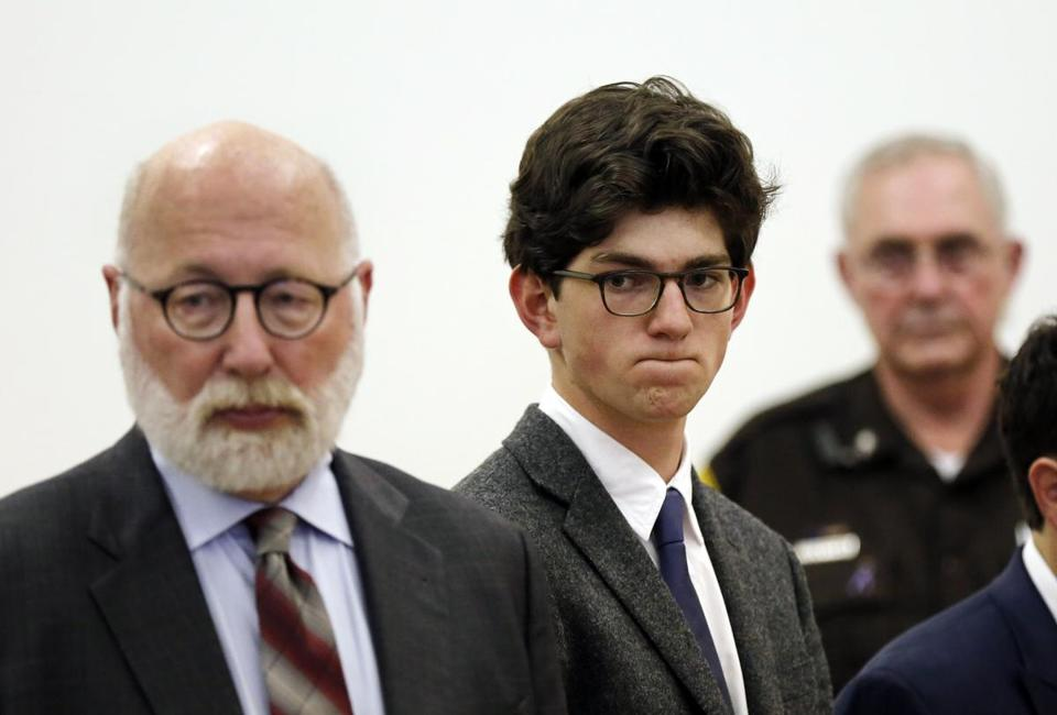 Owen Labrie (center) stood with his lawyer, J.W. Carney, before being sentenced Thursday in Merrimack County Superior Court.