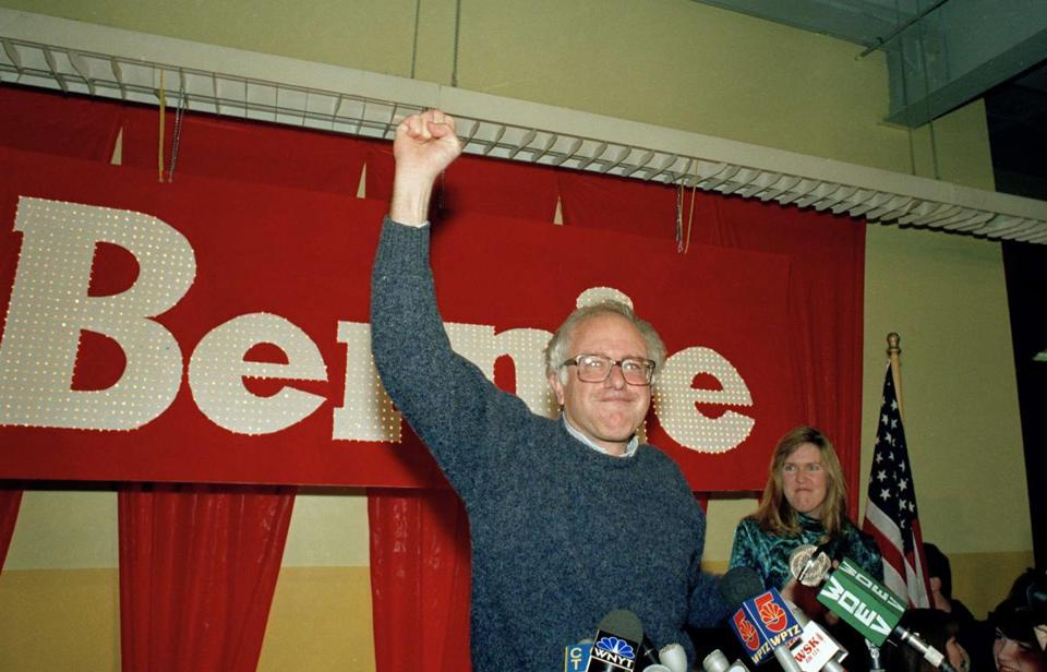 Bernie Sanders raised his arm in victory after defeating Republican Representative Peter Smith in the 1990 House race in Vermont.
