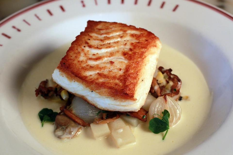 Halibut special with clams, chanterelles, and sweet corn.