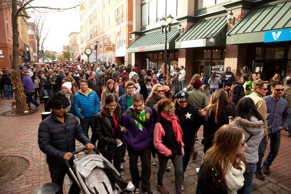 crowds gathered for the halloween celebration on saturday in salem