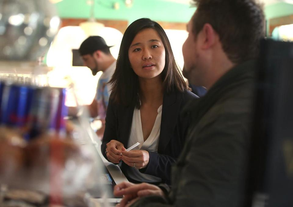 Michelle Wu campaigned for re-election at Victoria's Diner earlier this month.