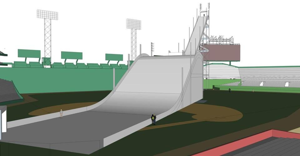 A rendering of the view from home plate for the Big Air at Fenway competition.