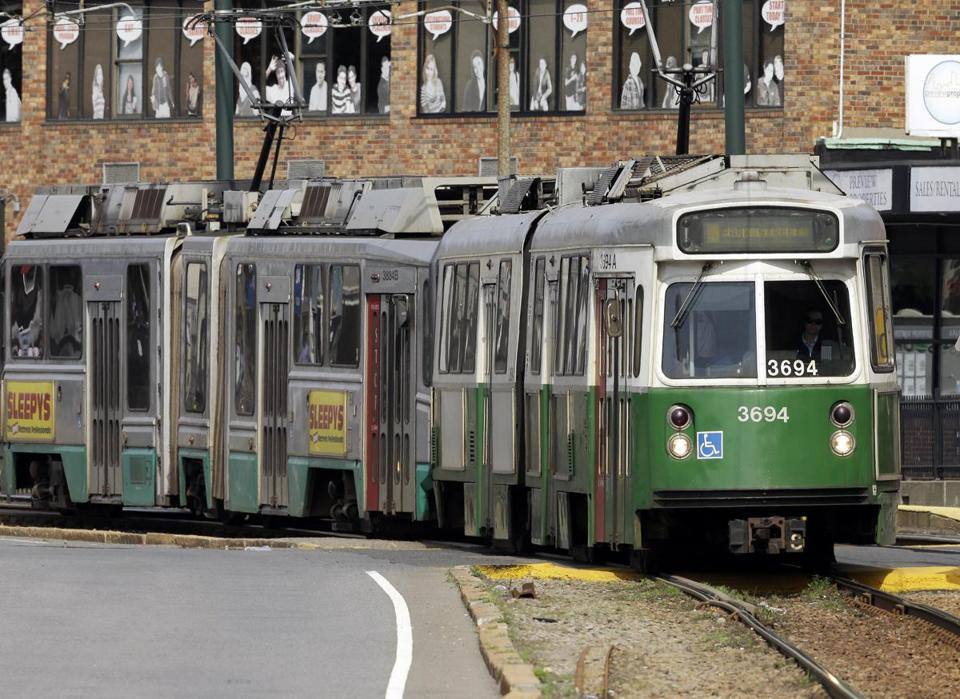 A Green Line train was seen in June.