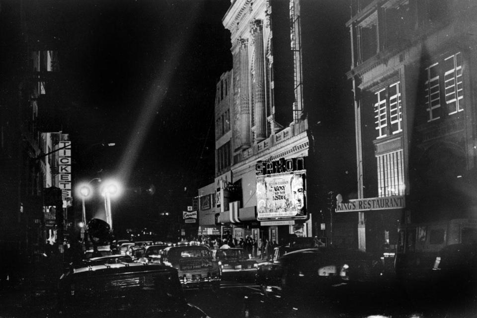 Traffic in Boston's Theatre District was stalled on Nov. 9, 1965, because of a blackout.