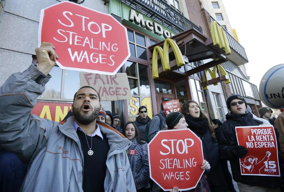 People planning to visit fast-food restaurants or shop in downtown Boston Tuesday could encounter picket lines, slower service, and crowds of protesters as the Fight for $15 minimum wage movement stages demonstrations throughout the day.