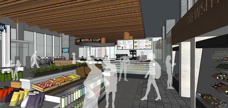 An early rendering of the Newsfeed Café at the Boston Public Library.
