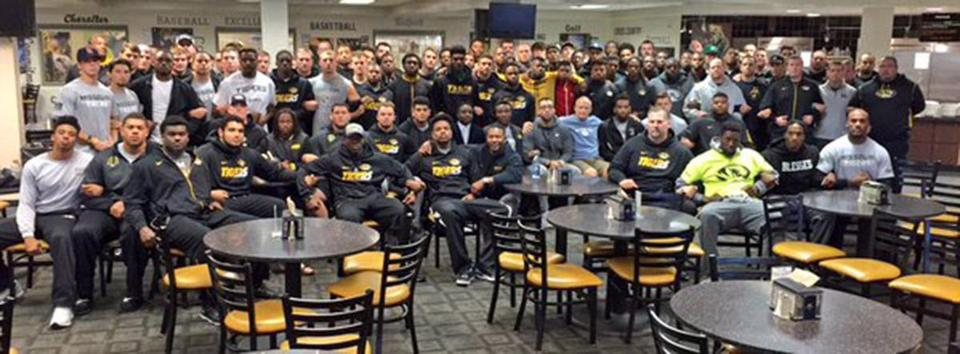 "The University of Missouri's head football coach tweeted this image with the message, ""The Mizzou Family stands as one. We are united. We are behind our players. #ConcernedStudent1950 GP."""