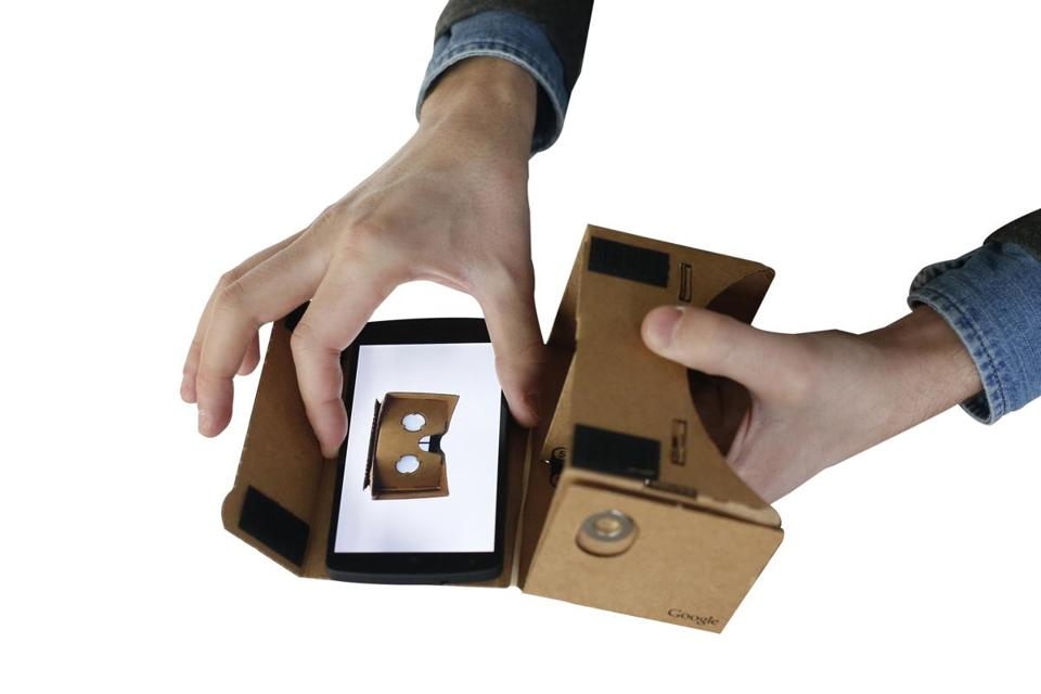Google Cardboard is a little two-lens, corrugated cardboard apparatus that, with a smartphone Velcroed inside it, allows viewers to watch the first major virtual reality journalism story from the New York Times.