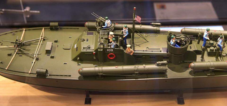 A close-up look at a model of the PT-109.