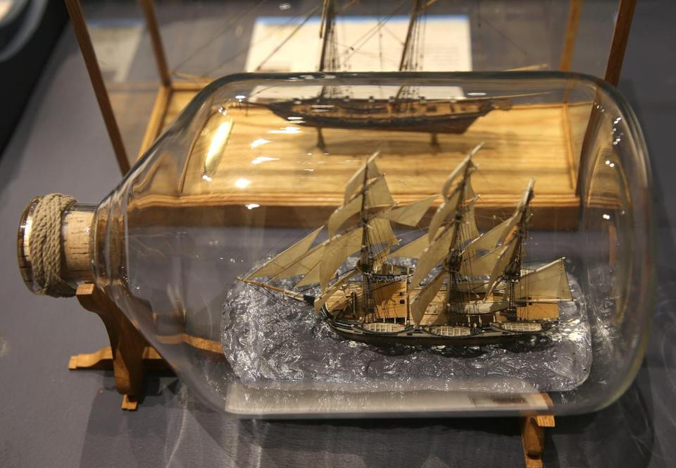 A model of the Charles W. Morgan in a bottle will be part of the USS Constitution Museum's exhibit of ship models.