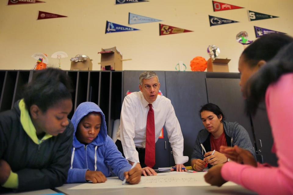 Education Secretary Arne Duncan spent time with students at Burke High School in Dorchester.