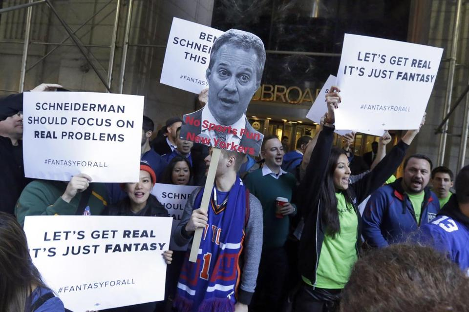 Fantasy sports fans demonstrated outside the Financial District offices of New York state Attorney General Eric Schneiderman, in New York.