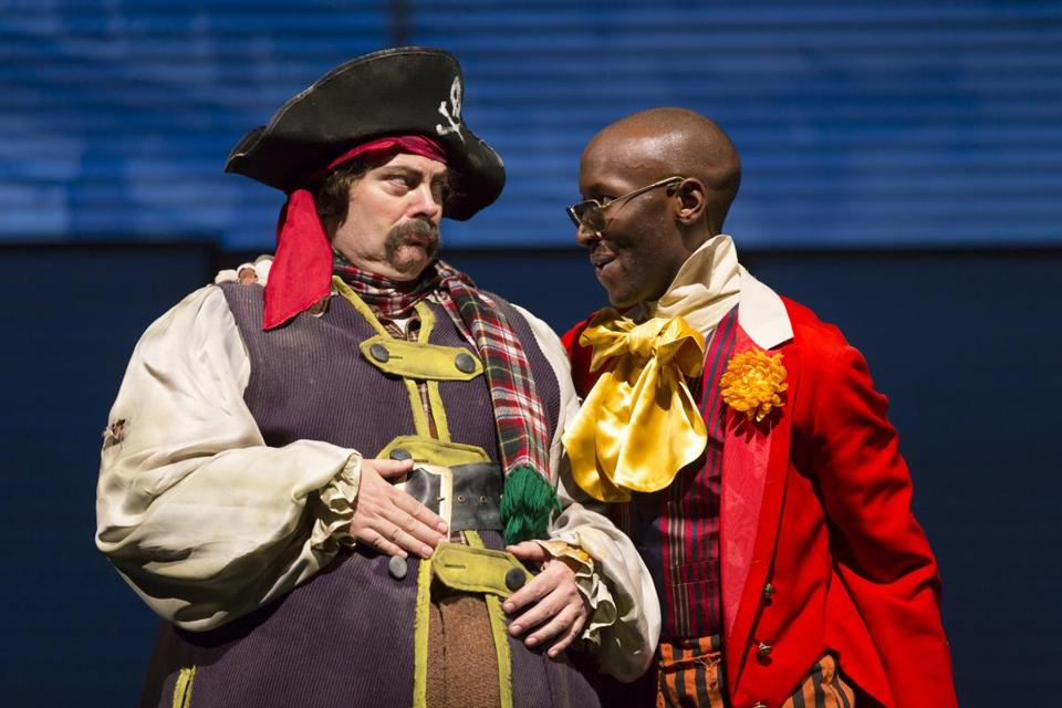 "Nick Offerman as Ignatius J. Reilly (left) and Phillip James Brannon as Burma Jones in the Huntington Theatre Company's ""A Confederacy of Dunces."""