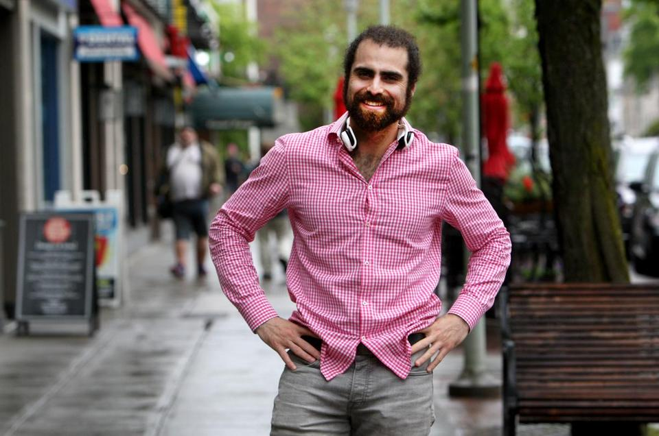 "05-19-2015: Cambridge, MA: Nadeem Mazen photographed on Mass. Ave. in Cambridge, Mass May 19, 2015. He is a Cambridge city councillor, ""chief rocket pilot"" of Nimblebot, and a co-founder of danger!awsome. Photo/John Blanding, Boston Globe staff story/Janelle Nanos, Business ( 20DownpageDownload )"