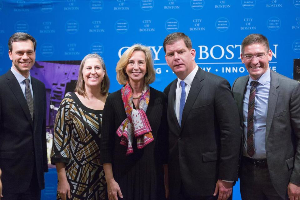 From left: Commonwealth Shakespeare Company board chair Dave Friedman, Boston chief of arts and culture Julie Burros, Babson College president Kerry Healey, Mayor Marty Walsh, and founding artistic director Steven Maler.