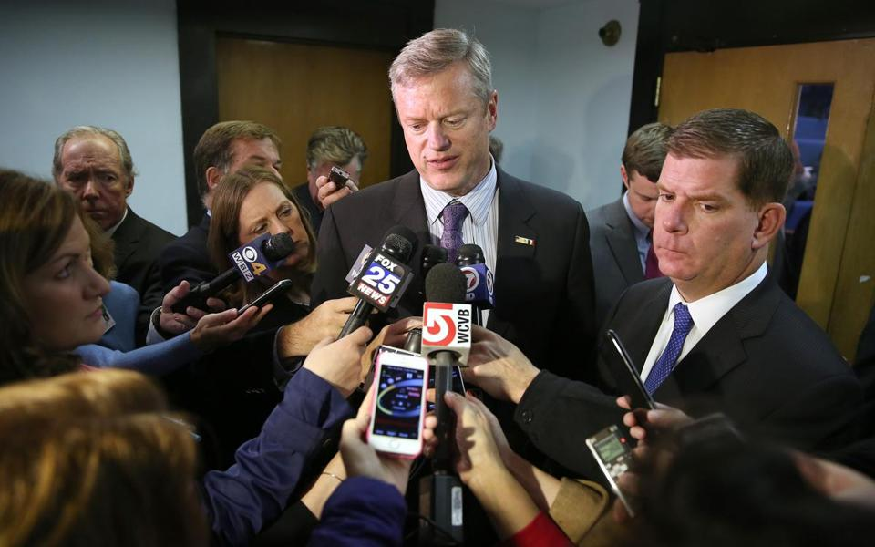 "Governor Charlie Baker spoke to reporters Monday, saying he was ""not interested in accepting refugees from Syria."""