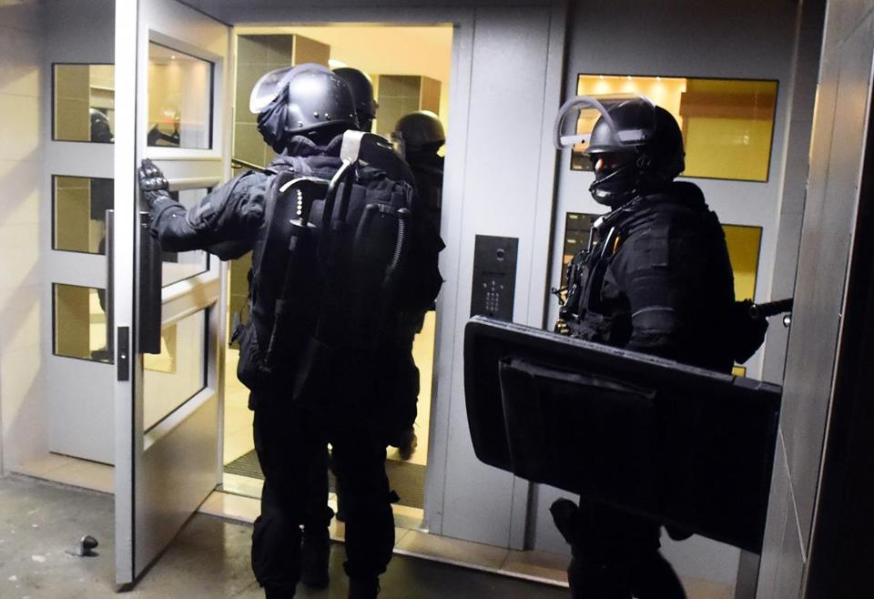 Anti-terrorism police stormed a building in Toulouse, France, on Monday.