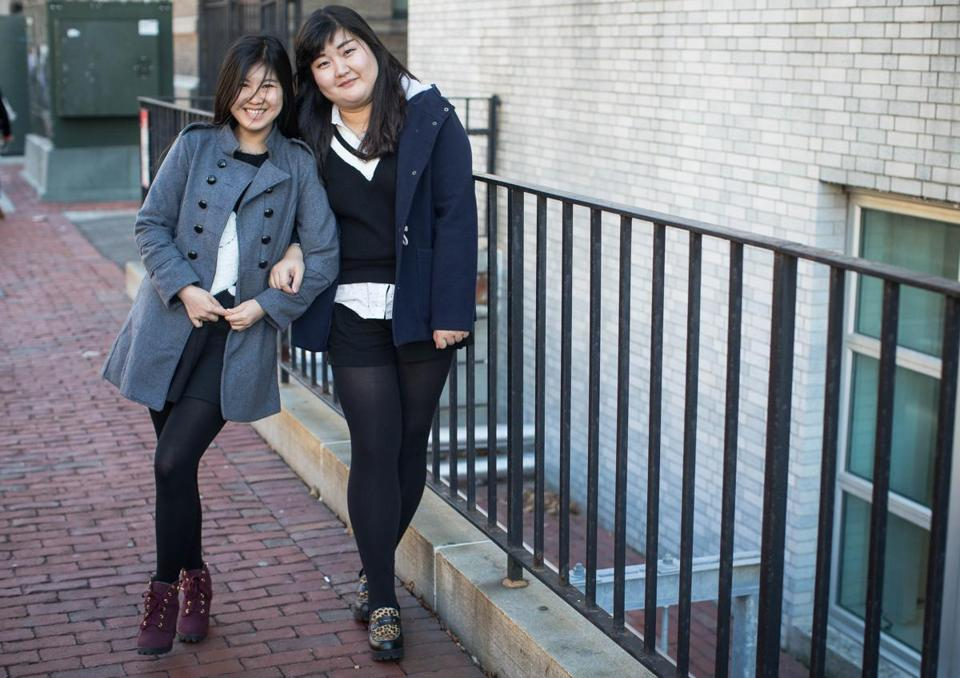 Students Cassie Li (left) and Cassie Yu, both of China, enrolled at Northeastern University.