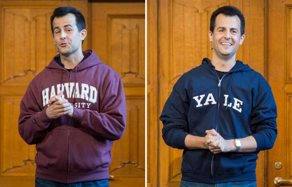 David Malan revealed a Yale sweatshirt beneath a Harvard one as he taught the first CS50 class at Yale University this fall.