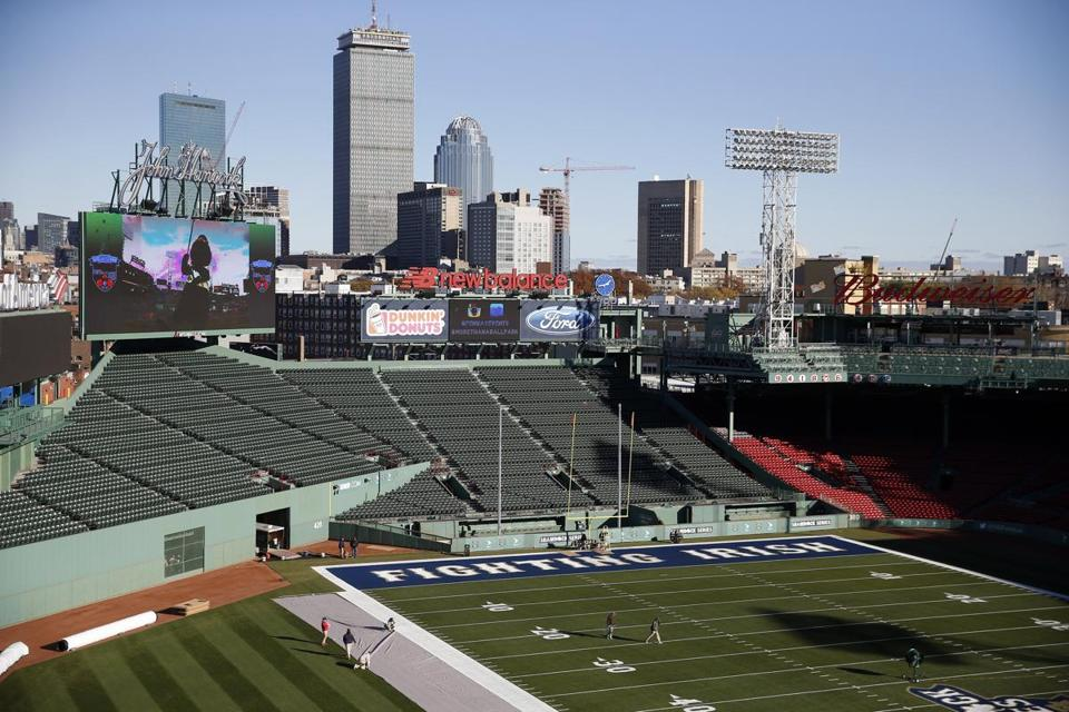 Boston, Massachusetts -- 11/17/2015- A football field is seen in the center of Fenway Park in Boston, Massachusetts November 17, 2015. Jessica Rinaldi/Globe Staff Topic: FenwayFootball Reporter: