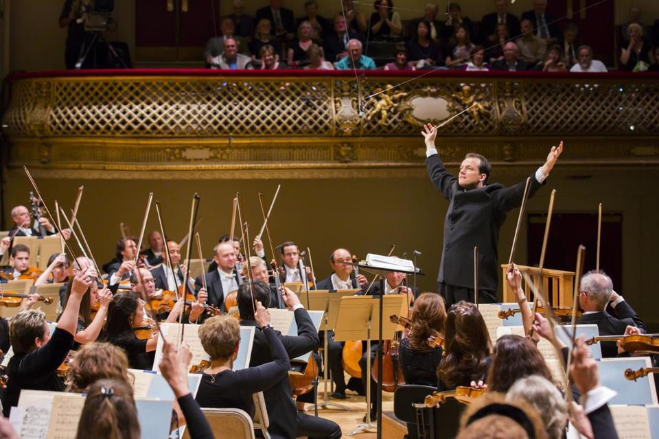 Andris Nelson conducting the Boston Symphony Orchestra.