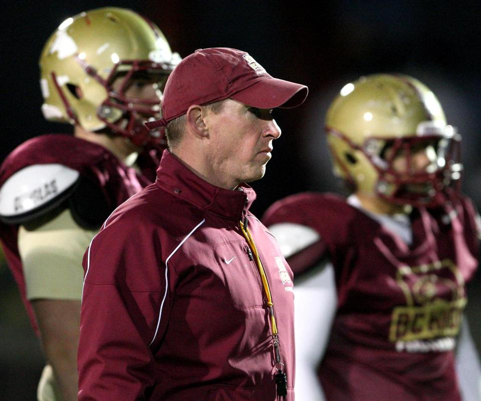 Boston, MA: 11-18-15: Boston College High School football coach Jon Bartlett during practice at the school in the Dorchester section of Boston, Mass. Nov. 18, 2015. Photo/John Blanding, Boston Globe staff story/ , Sports ( FFBC/Catholic )