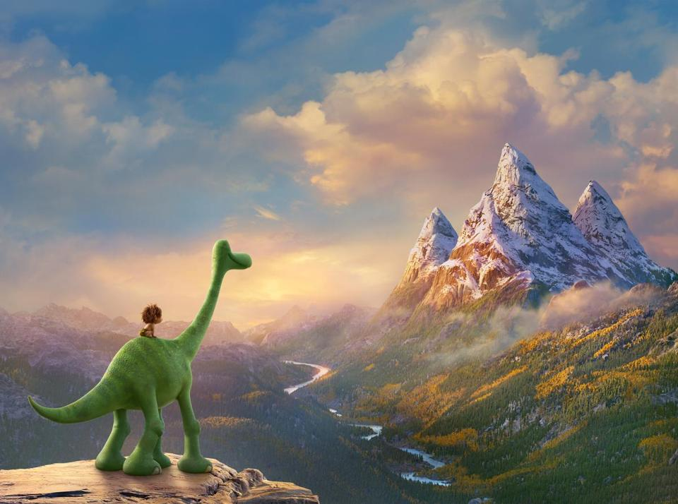 "An apatosaurus named Arlo and his human companion, Spot, in ""The Good Dinosaur."""