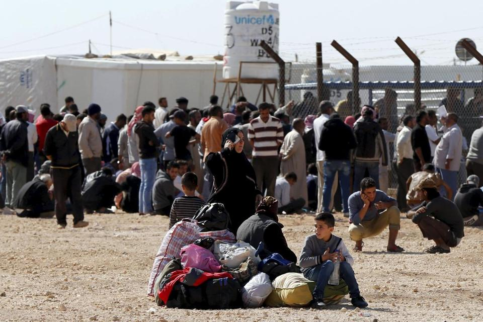 Syrian refugees waited to register their names at the Al Zaatari refugee camp in Jordan earlier this month.