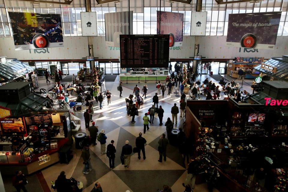 Abington, MA 11/24/2015 – Passengers pass through South Station in Boston, MA on November 24, 2015. The Tuesday before Thanksgiving is considered the busiest travel day of the year in Boston. (Globe staff photo / Craig F. Walker) section: Business reporter: