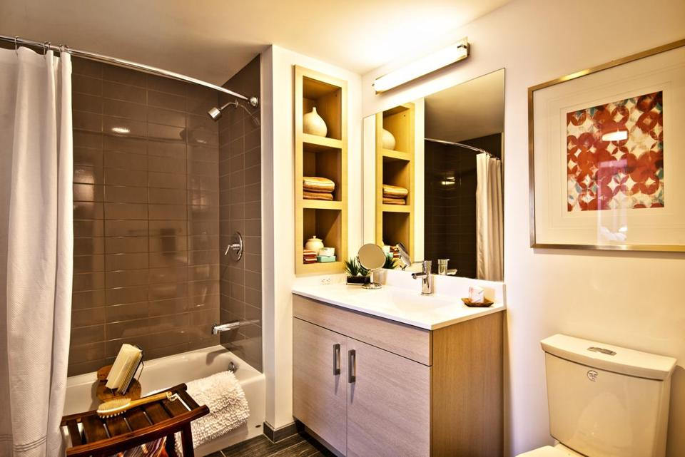 A bathroom in the model apartment at One Greenway, a new upscale development on Kneeland Street.
