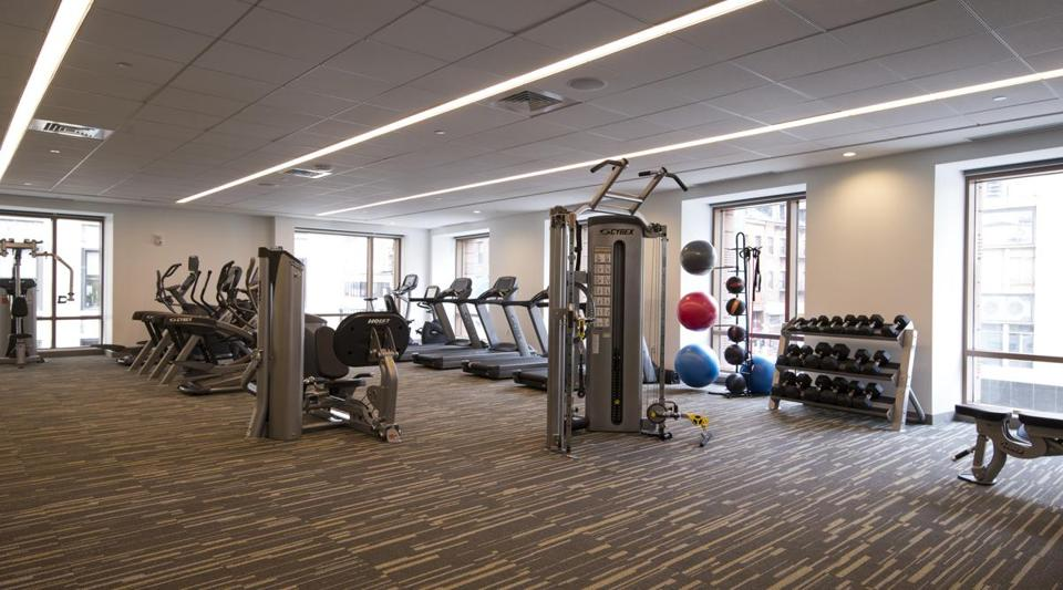 The fitness center at One Greenway, a new upscale development on Kneeland Street.