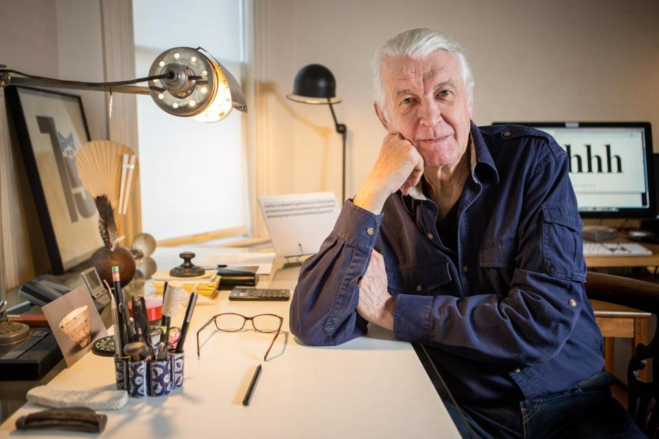 Type designer Matthew Carter posed for a portrait in his workspace at his home in Cambridge.