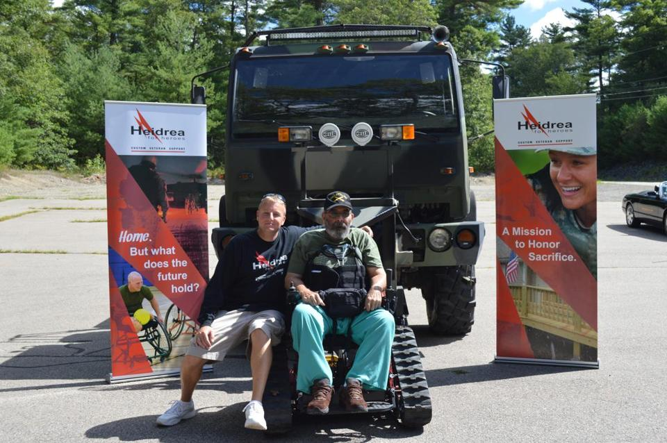 7soprofile - Jesse Brown (l) and John D'Acci of Rockland, Vietnam vet. Brown's Heidrea 4 Heroes got the adaptive chair for D'Acci so he could hunt. (Krista Landry)