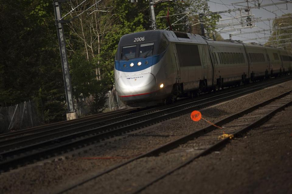 An Acela Express train approached the station in Old Saybrook, Conn.