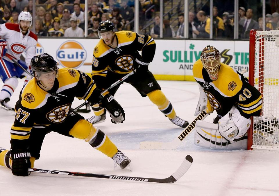 Torey Krug (left) and Kevan Miller provided support for Tuukka Rask in a game vs. the Canadiens Oct. 10.