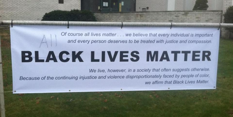 The banner that was vandalized.