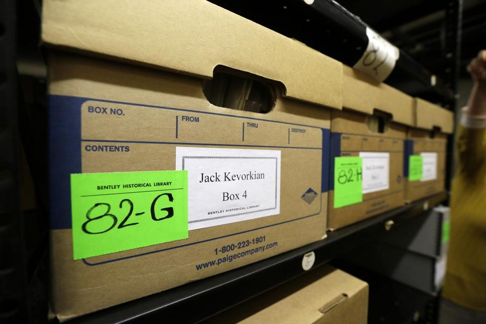 Boxes containing files on assisted suicide that belonged to Dr. Jack Kevorkian were stored at the Bentley Historical Library in Ann Arbor, Mich.