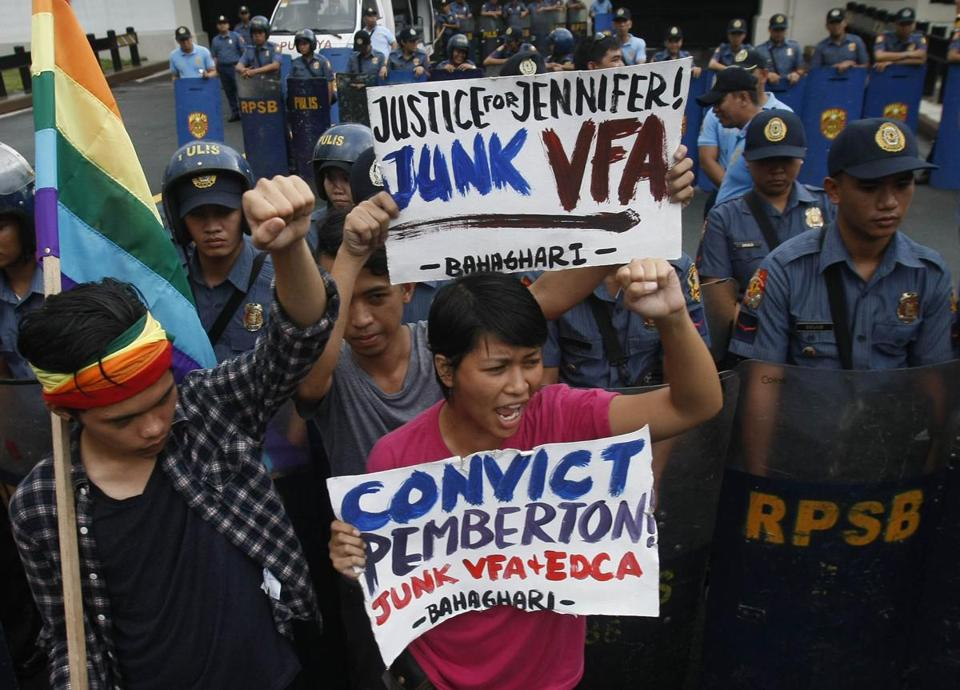 Protesters shouted slogans Tuesday at the US Embassy in Manila as the verdict was handed down.