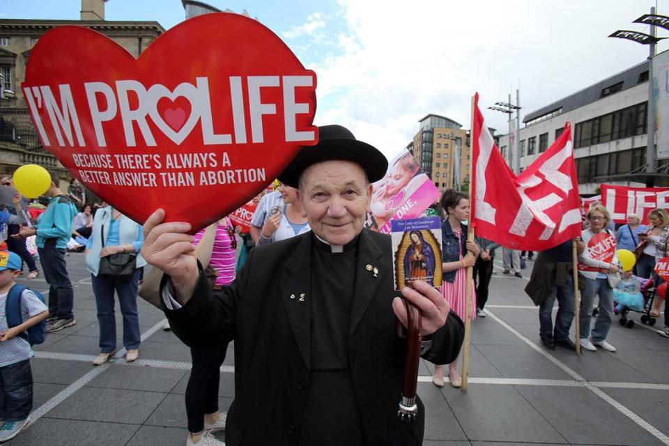 In July of last year, a priest attended an antiabortion rally in Belfast City center in Northern Ireland.