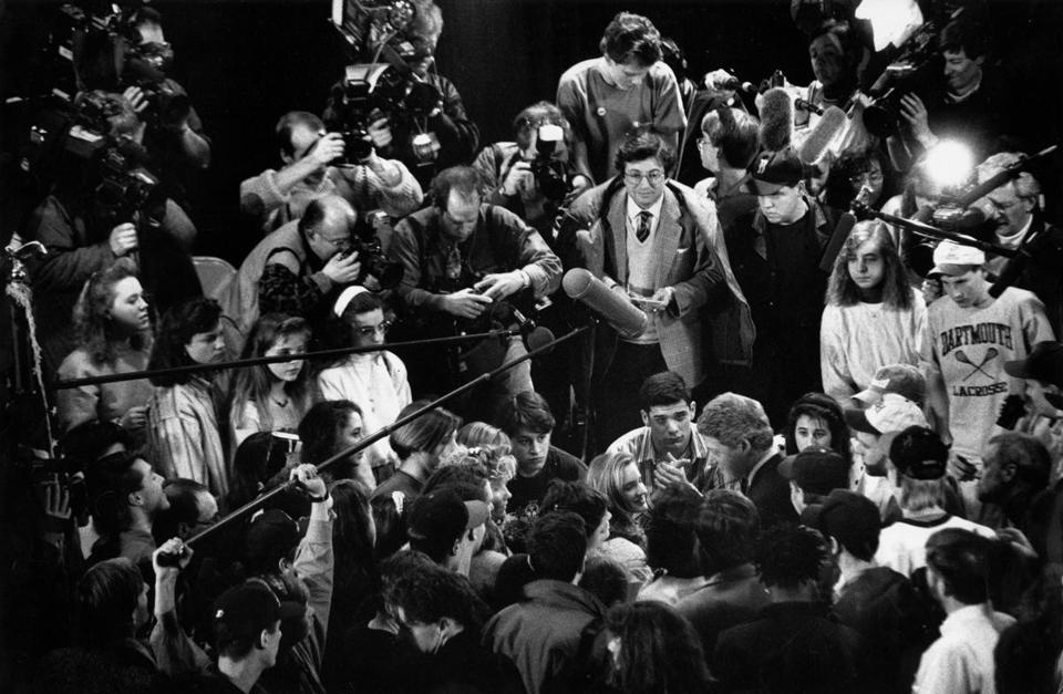 Journalists and high school students surrounded Bill Clinton during a campaign stop at Concord High School in New Hampshire in 1992.