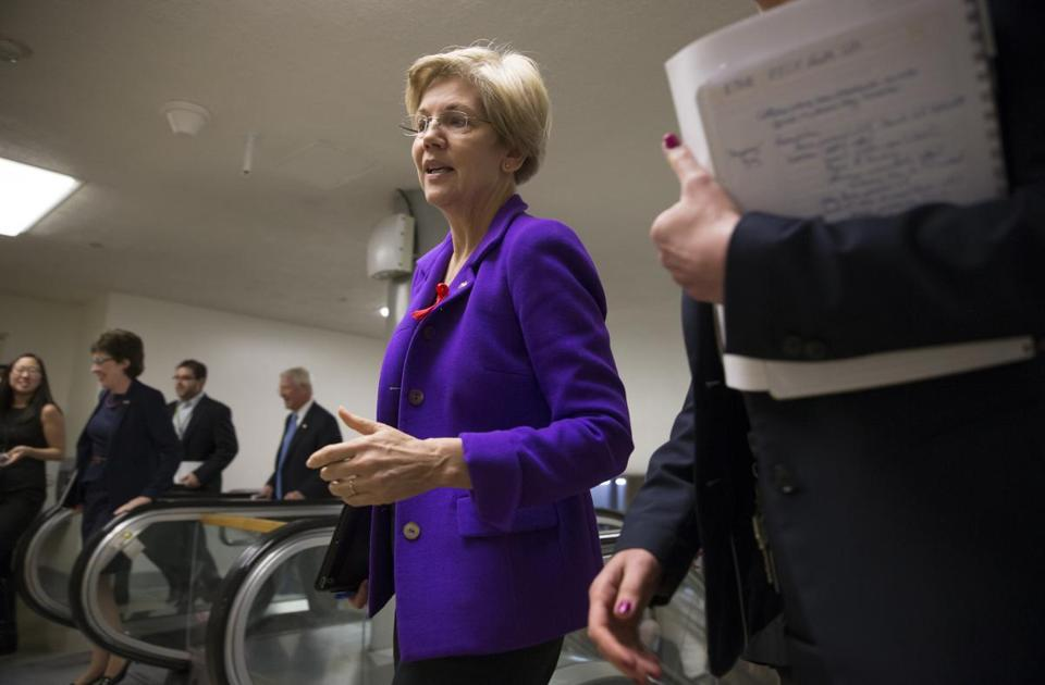 Senator Elizabeth Warren arrived at the Capitol for weekly policy meetings earlier this week.