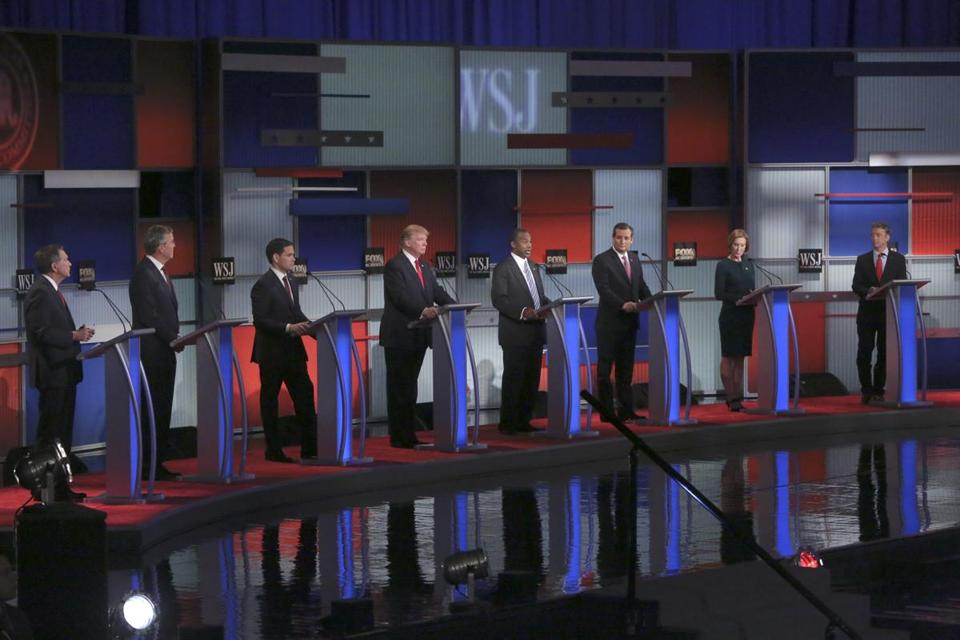 Eight candidates on stage for the Republican debate at the Milwaukee Theatre in Milwaukee, Nov. 10, 2015. From left: Gov. John Kasich, Jeb Bush, Sen. Marco Rubio, Donald Trump, Ben Carson, Sen. Ted Cruz, Carly Fiorina and Sen. Rand Paul. (Michael Appleton/The New York Times)